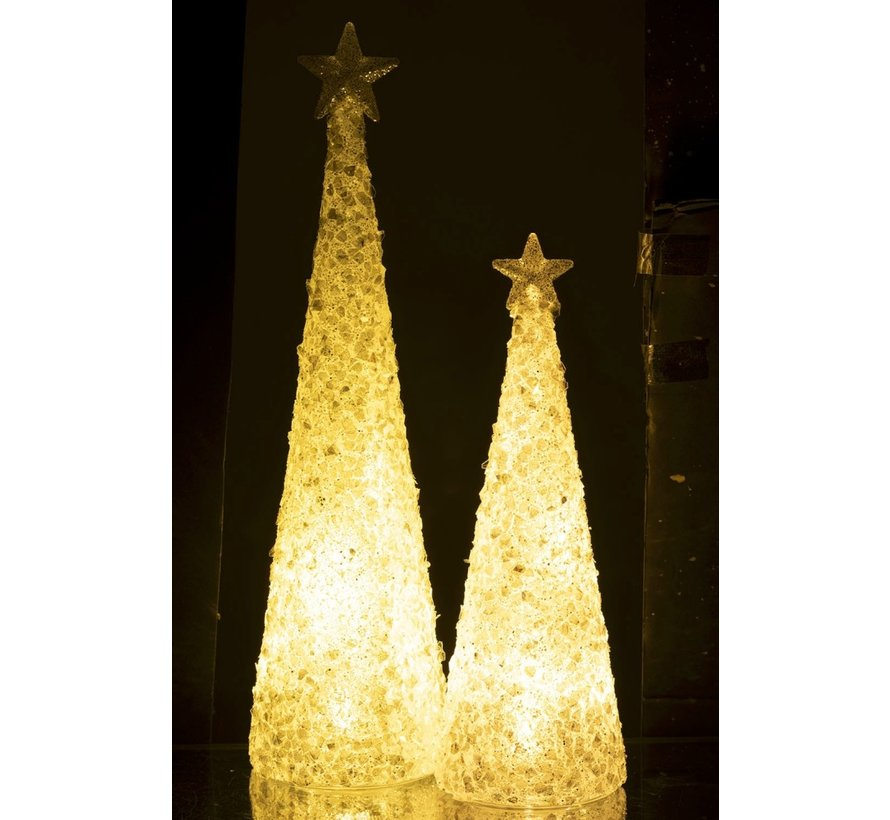 Table lamp Christmas cone Sugar glass Led White - Large
