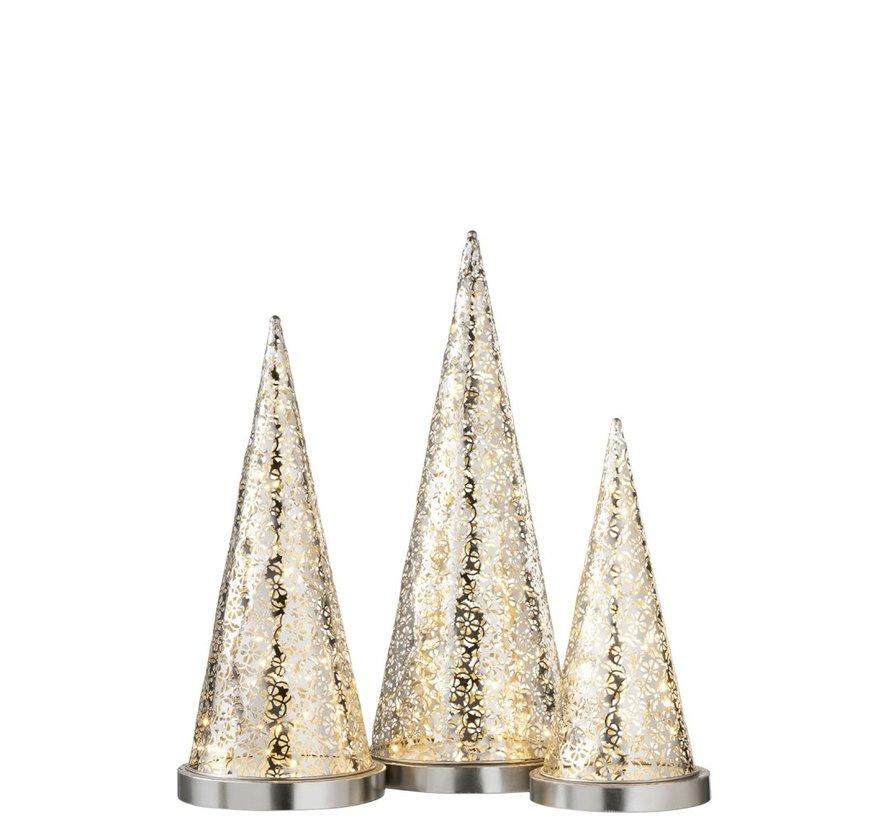 Tafellamp kegel Metaal Led zilver - Small