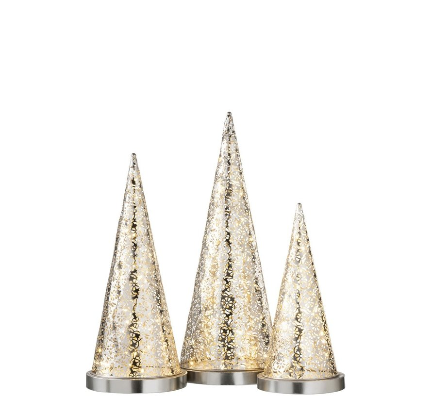 Tafellamp kegel Metaal Led zilver - Medium