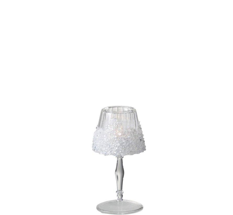 Theelichthouder Op Voet Suikerglas Transparant - Small