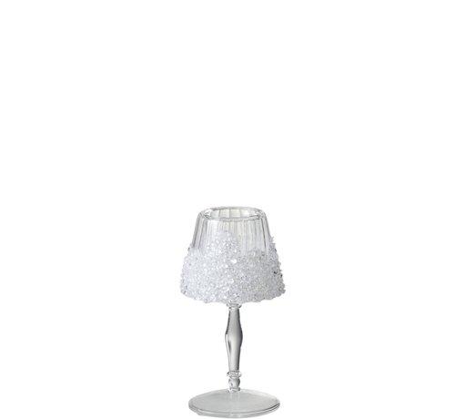 J -Line Theelichthouder Op Voet Suikerglas Transparant - Small