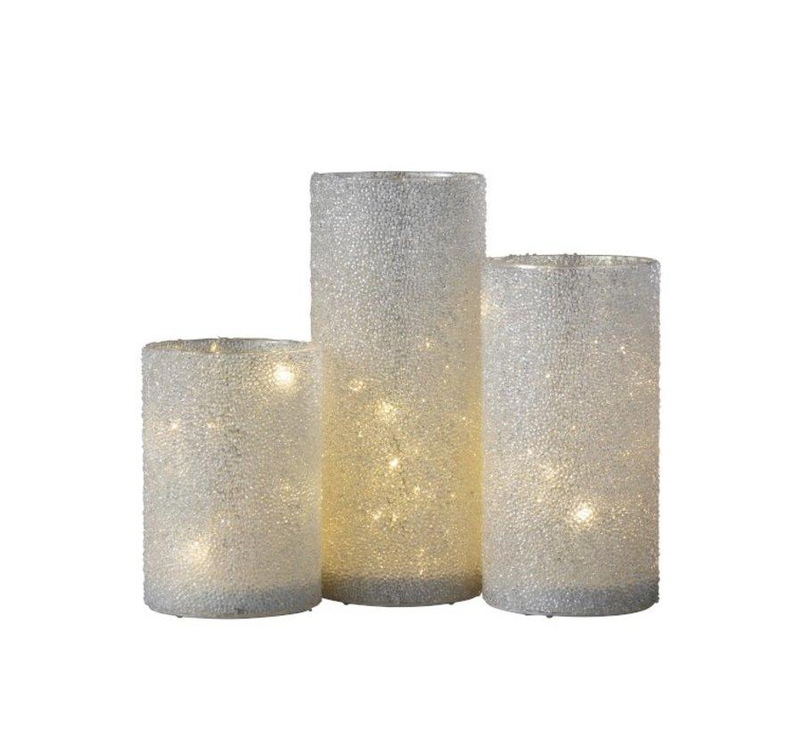 Theelichthouder Led Cilinder Suikerglas Wit - Medium