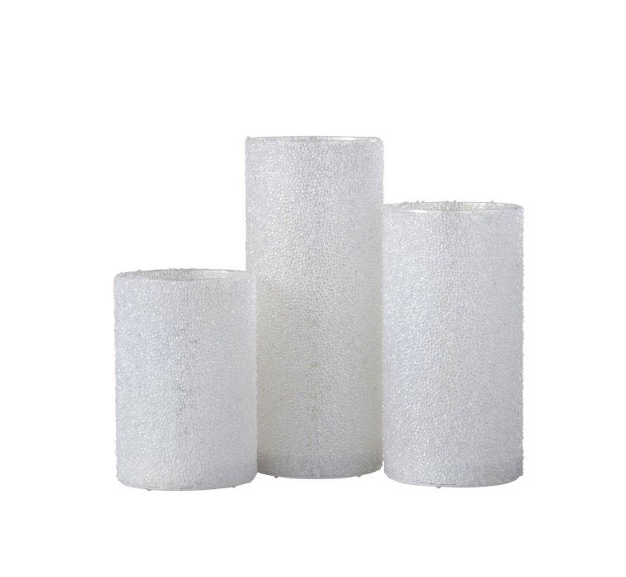 Theelichthouder Led Cilinder Suikerglas Wit - Large