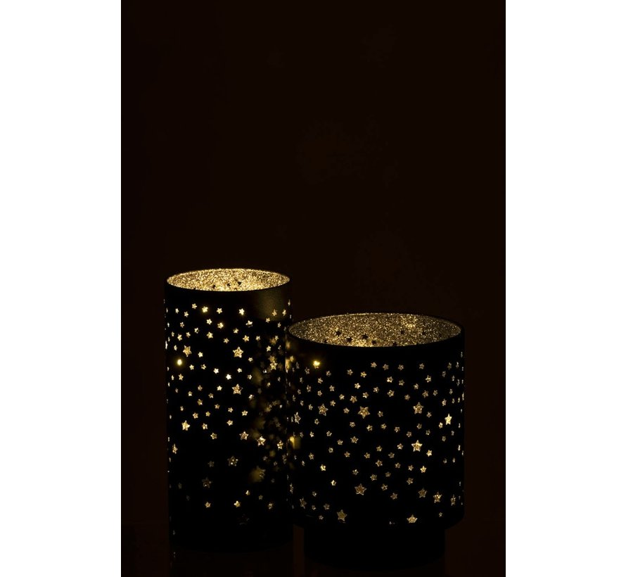 Tealight holder Ster Led Metal Black Silver - Small