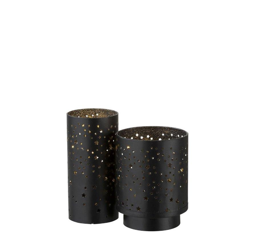 Theelichthouder Ster Led Metaal Zwart Zilver - Small