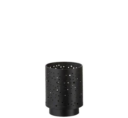 J -Line Theelichthouder Ster Led Metaal Zwart Zilver - Large