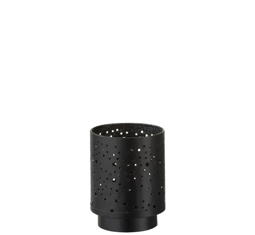 Theelichthouder Ster Led Metaal Zwart Zilver - Large