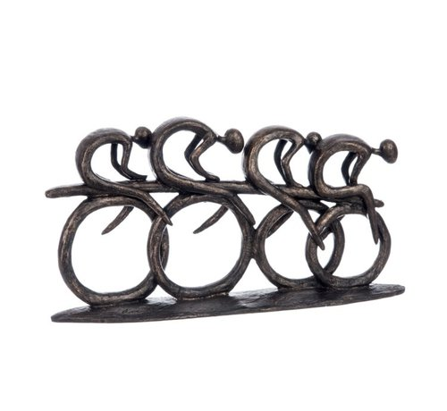 J -Line Decoration Sculptures Cyclists Polyester - Dark Brown