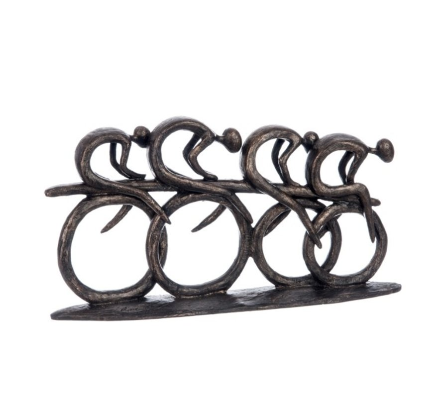 Decoration Sculptures Cyclists Polyester - Dark Brown