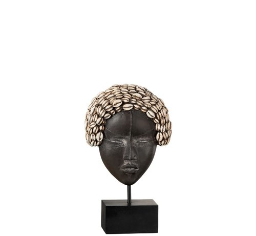 J -Line Decoratie Masker Poly Afrikaanse Vrouw Zwart - Wit