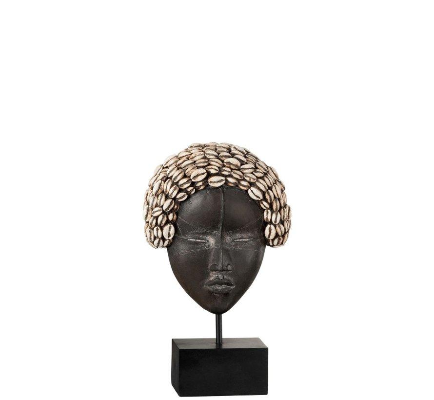 Decoratie Masker Poly Afrikaanse Vrouw Zwart - Wit