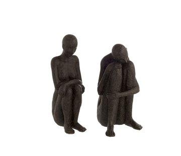 J -Line Decoration Figures Seated Poly - Black