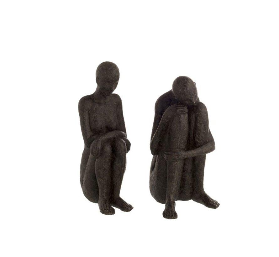 Decoratie Figuren Zittend Poly - Zwart