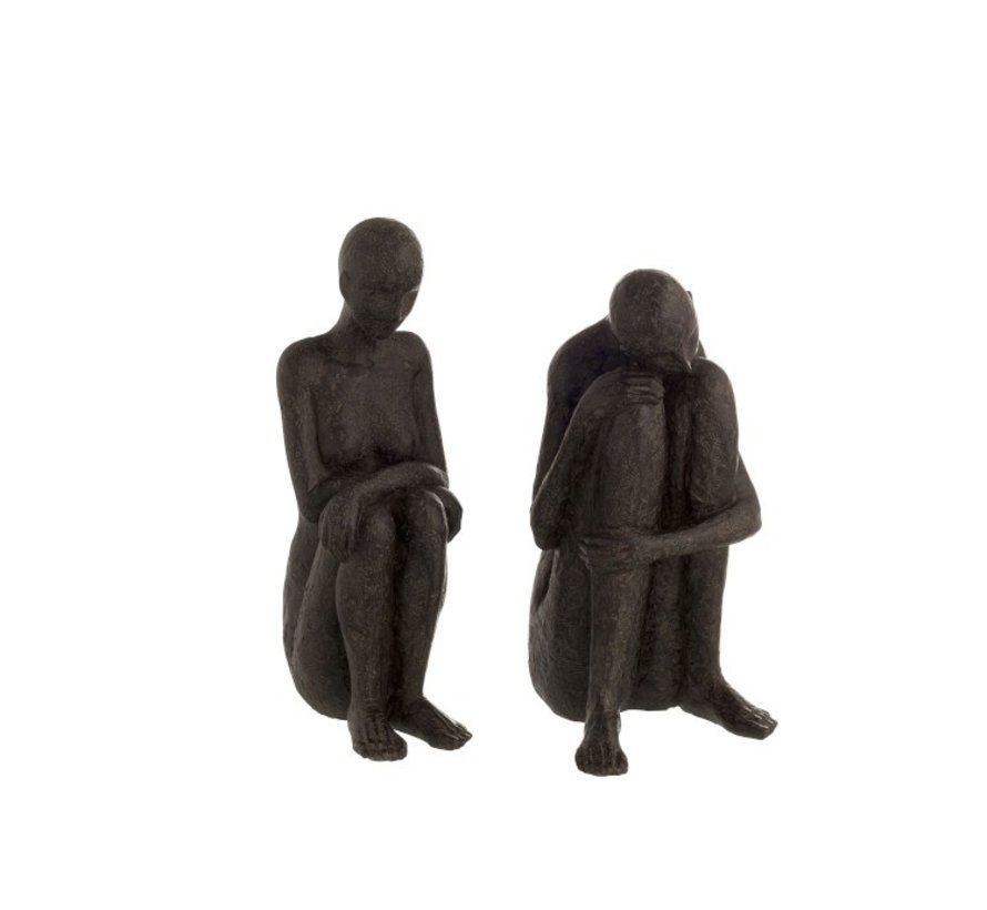 Decoration Figures Seated Poly - Black