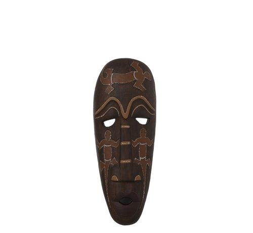 J-Line Decoratie Masker Afrikaanse Tekeningen Poly - Bruin