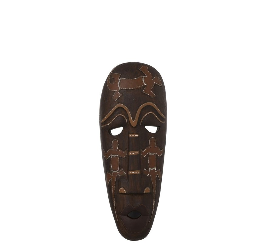 Decoration Mask African Drawings Poly - Brown