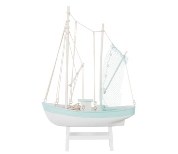 J -Line Decoratie Vissersboot Hout Wit Blauw - Large