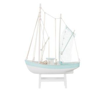 J -Line Decoration Fishing boat Wood White Blue - Large