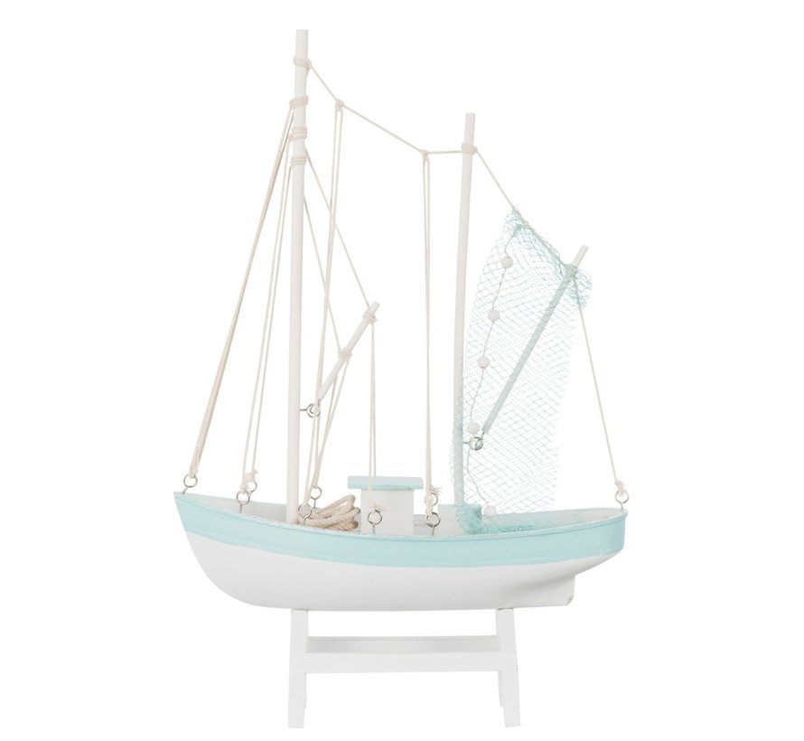 Decoratie Vissersboot Hout Wit Blauw - Large