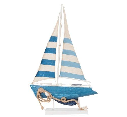 J -Line Decoratie Boot Hout Katoen Wit Blauw - Large