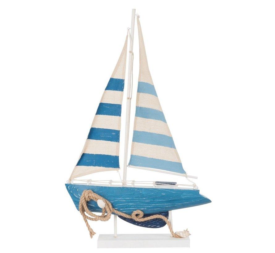 Decoratie Boot Hout Katoen Wit Blauw - Large