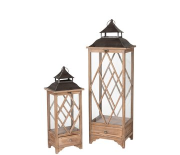 J-Line  Lanterns Spruce Wood Glass Metal Light Brown - Black