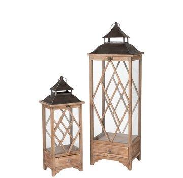 J -Line Lanterns Spruce Wood Glass Metal Light Brown - Black