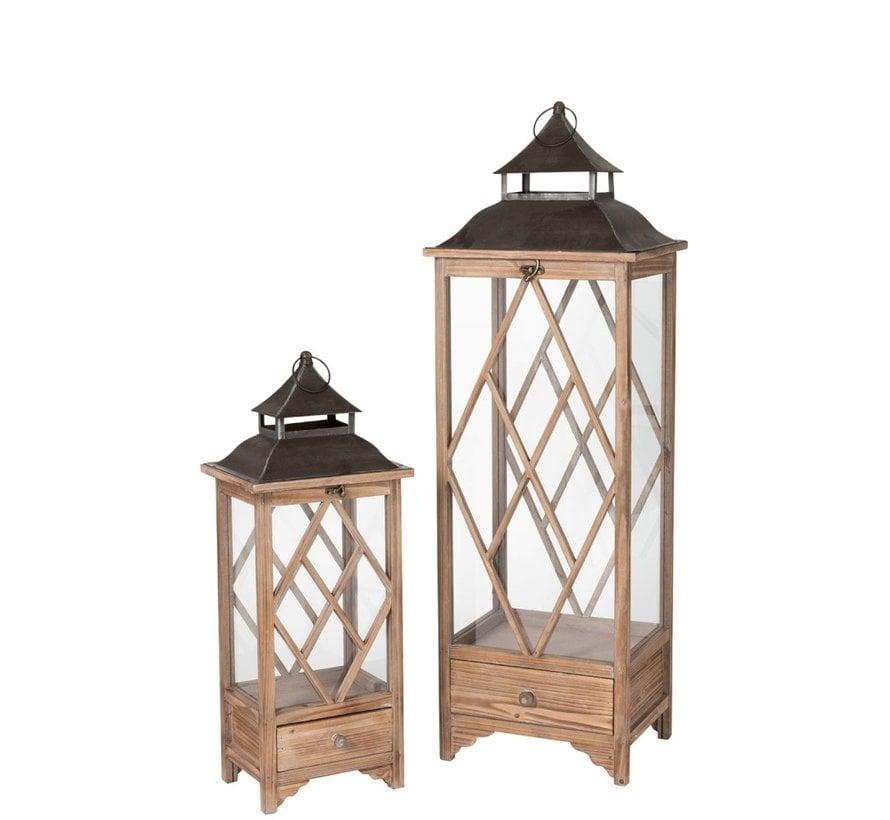Lantaarns Sparrenhout Glas Metaal Ruiten Lichtbruin - Zwart