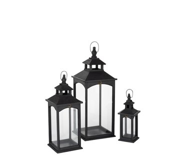 J -Line Lanterns Spruce Glass Square Transparent - Black
