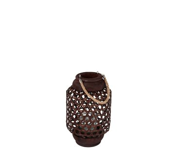 J -Line Lantern Wood Rope Knitted Red Brown - Small