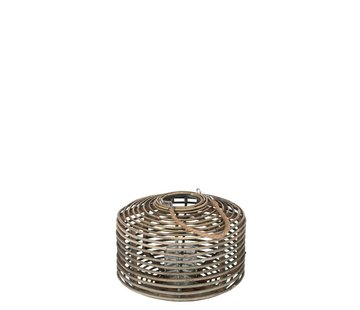 J -Line Lantern Flat Round Rattan Glass Natural Brown - Medium