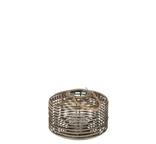 J -Line Lantern Flat Round Rattan Glass Natural Brown - Medium