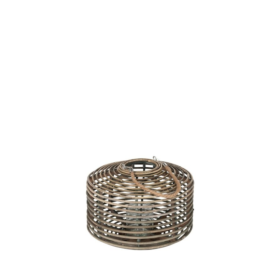 Lantern Flat Round Rattan Glass Natural Brown - Medium