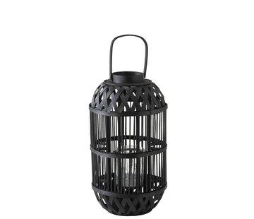 J -Line Lantern Cylinder Rattan Glass Black - Large