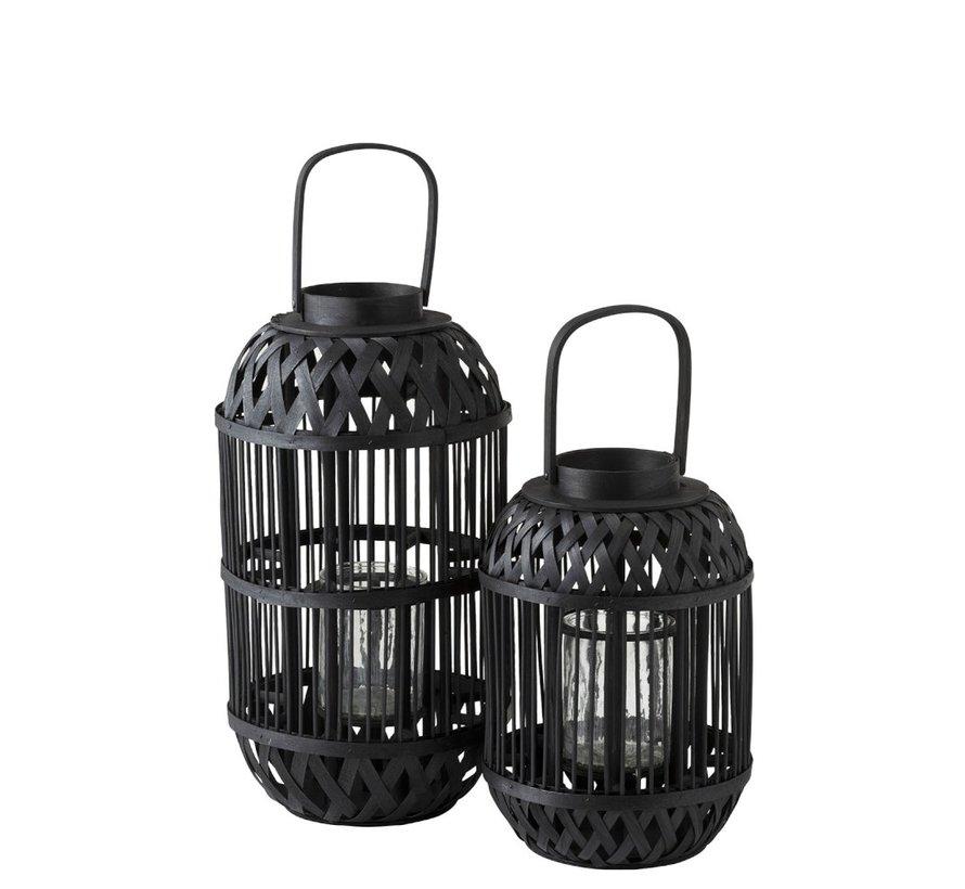 Lantaarn Cilinder Rotan Glas Zwart - Large