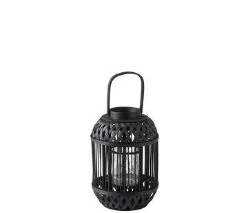 J -Line Lantern Cylinder Rattan Glass Black - Small