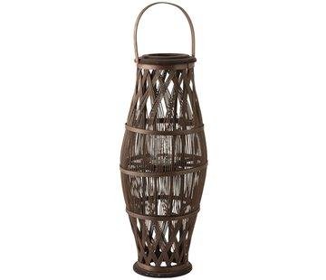 J-Line  Lantern Cylinder High Rattan Glass Brown - Large