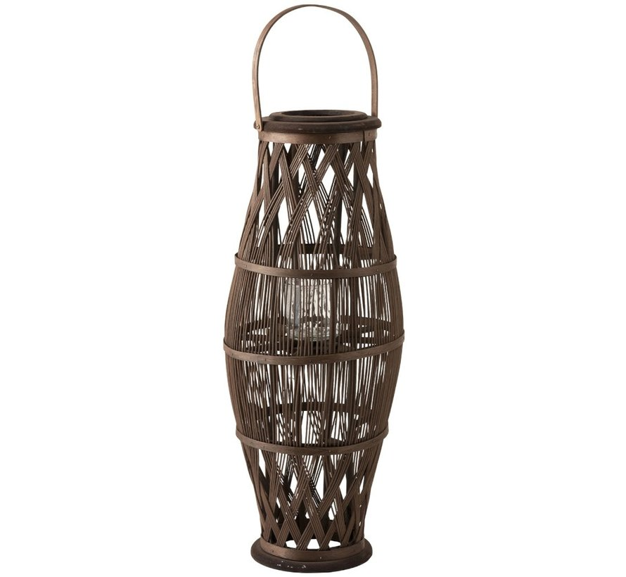 Lantern Cylinder High Rattan Glass Brown - Large