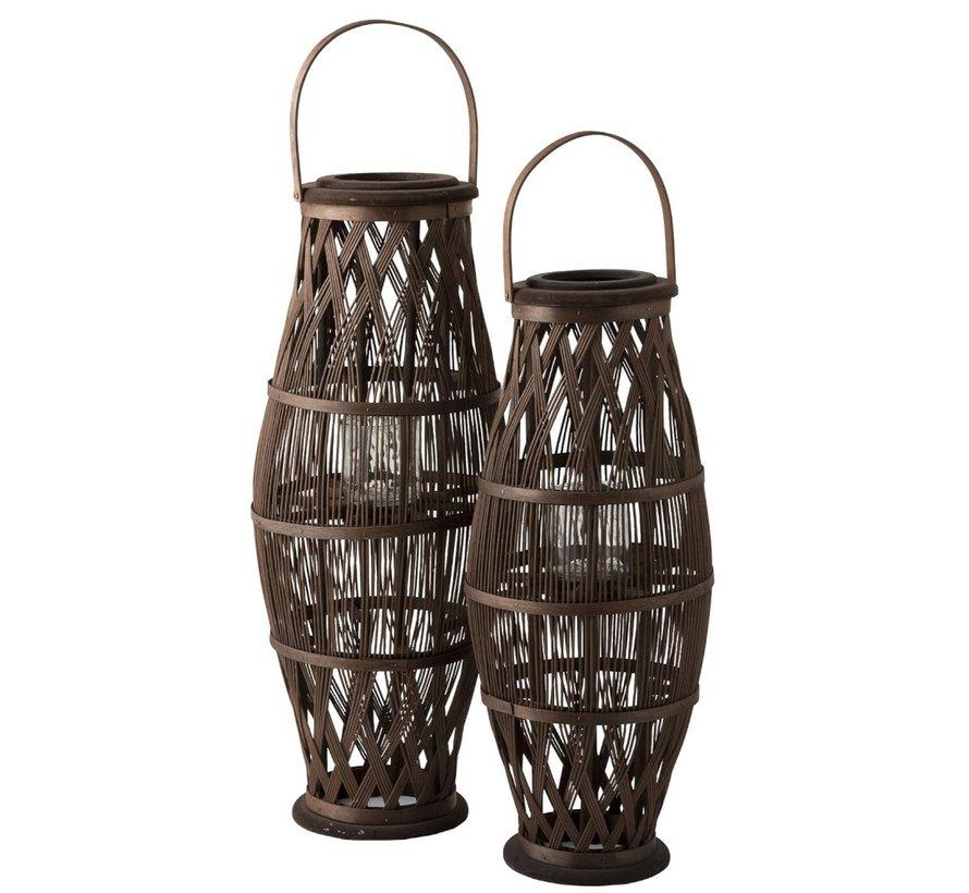 Lantaarn Cilinder Hoog Rotan Glas Bruin - Large