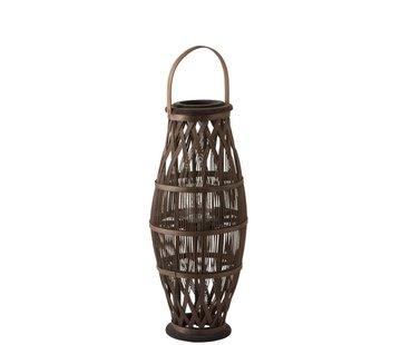 J-Line Lantaarn Cilinder Hoog Rotan Glas Bruin - Small