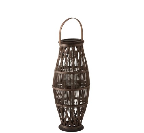 J -Line Lantern Cylinder High Rattan Glass Brown - Small