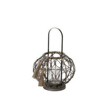 J -Line Lantern Round Rattan Tassels Glass - Dark Gray