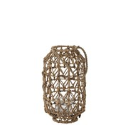 J -Line Lantern Cylinder Textured Grass Natural Brown - Small
