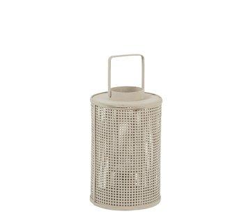 J-Line Lantern Cylinder Grid Bamboo Glass Beige - Large