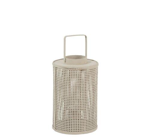 J -Line Lantaarn Cilinder Raster Bamboo Glas Beige - Large