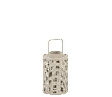 J-Line Lantaarn Cilinder Raster Bamboo Glas Beige - Small