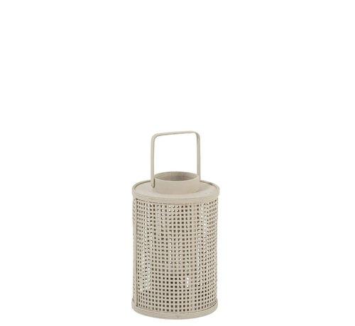 J-Line  Lantern Cylinder Grid Bamboo Glass Beige - Small