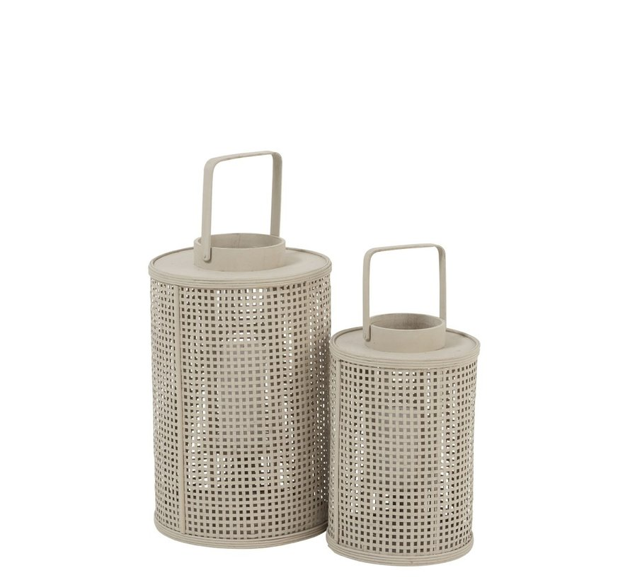 Lantern Cylinder Grid Bamboo Glass Beige - Small