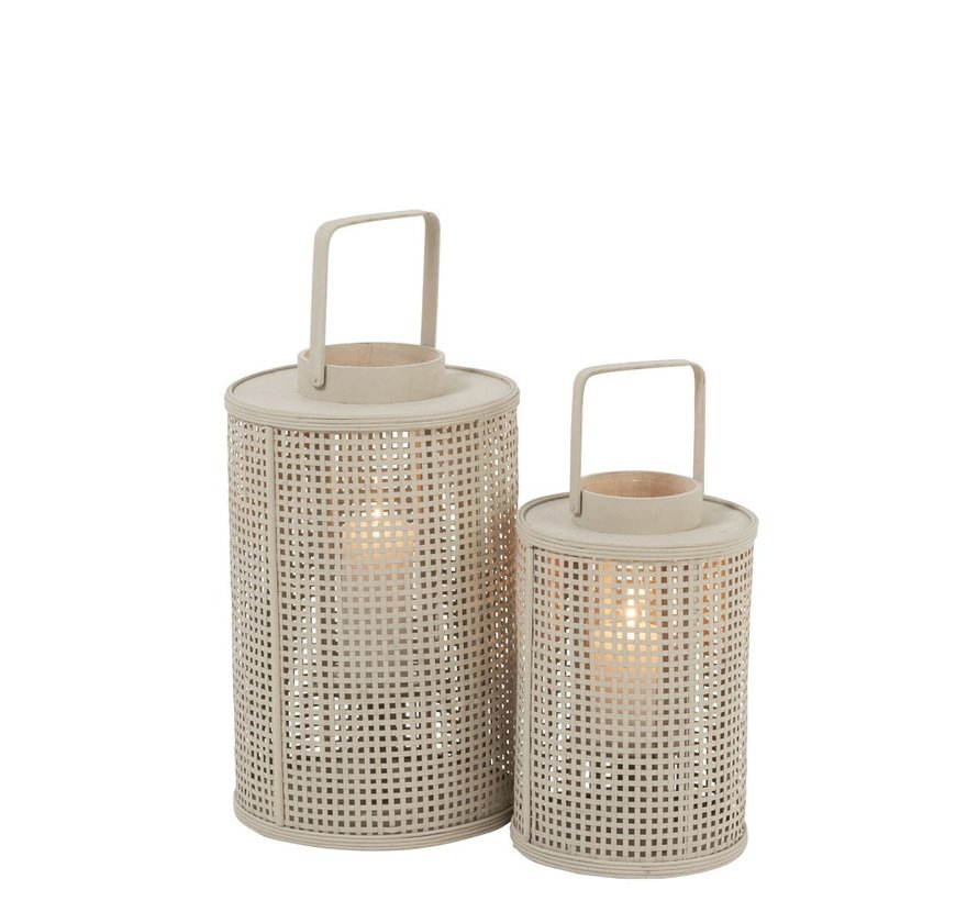 Lantaarn Cilinder Raster Bamboo Glas Beige - Small