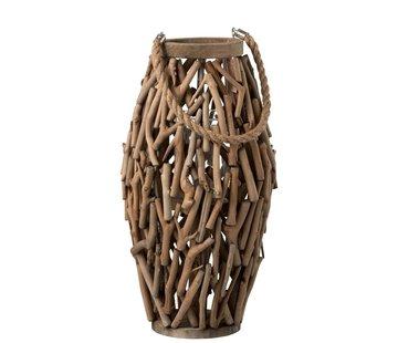 J-Line Lantaarn Cilinder Sparrenhout Takken Hout Bruin - Large